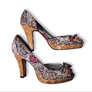 UNLISTED Colorful Paisley Fabric Peep Heels Sz 8